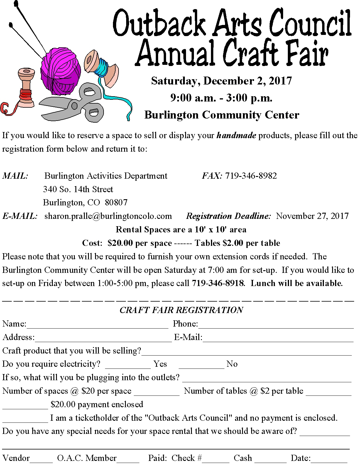 Craft Fair registration